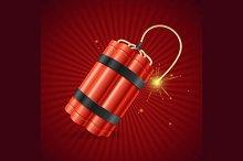Detonate Dynamite Bomb. Vector