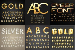 Vector set of graphics fonts