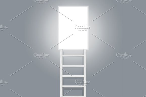 Stairs and Door. Vector - Illustrations