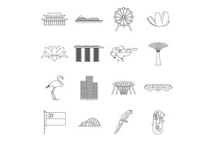 Singapore icons set, outline style