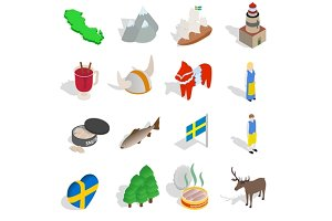 Sweden icons set, isometric 3d style