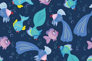 Fish seamless pattern for kids.