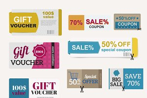 Vector gift voucher collection