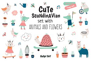 Cute Scandinavian animals & flowers