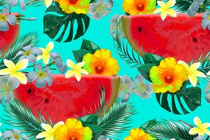 Watermelons,tropical flowers pattern