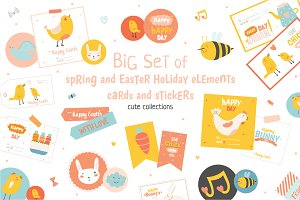 Happy easter collection illustrations creative market cute spring and easter holiday set m4hsunfo