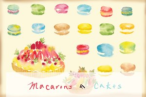watercolor macarons and cakes