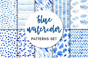 Blue Watercolor - Patterns Set
