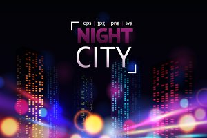 Night city lights vector set