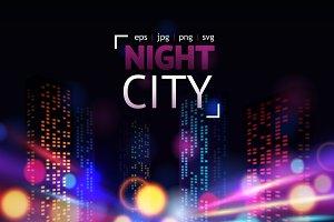 Night city lights vector set