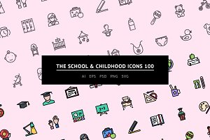 The School & Childhood Icons 100