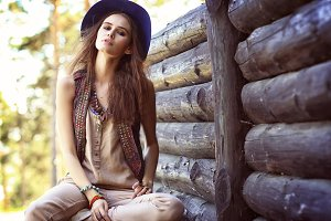 Young woman outdoors boho chic