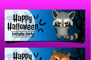 Happy Halloween banners with animals