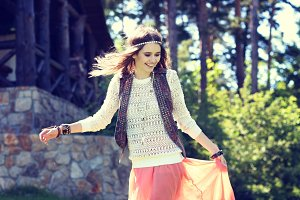 Young woman outdoors boho chic