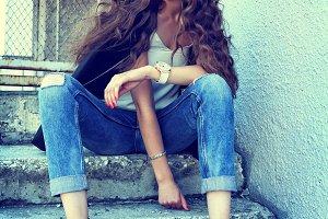 fashion model in sunglasses