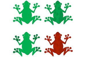 Different Color Frog Silhouettes