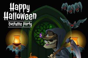 Grim Reaper, happy Halloween cards