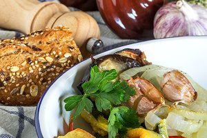 Roast pork pieces with parsley