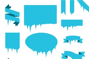 Frozen icicle snow winter vector