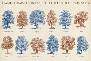 Hand Drawn Vintage Tree Set 2