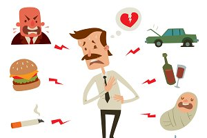 Man heart problems vector