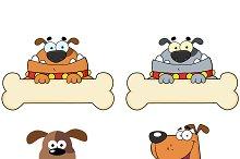Cartoon Dogs Over A Bone Banner
