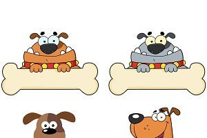 Cartoon Dogs Over A Bone Banner