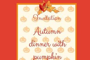 Autumn menu with pumpkins