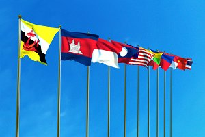 Asean Economic Community flags