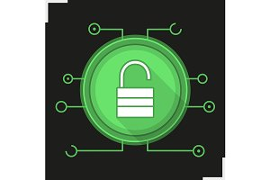 Unlock digital icon. Vector
