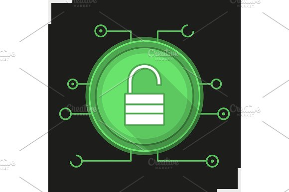 Unlock digital icon. Vector - Icons