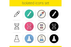 Chemical lab. 12 icons. Vector