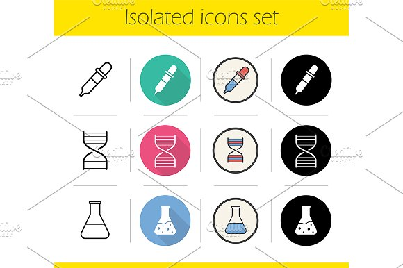 Chemical lab. 12 icons. Vector - Icons