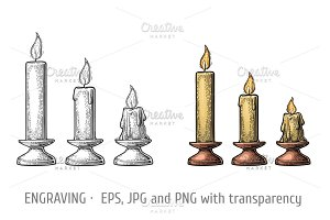 Set burning candles engraveing