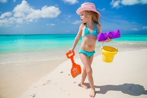Adorable little girl on beach