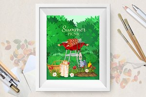 Vector poster of family picnic