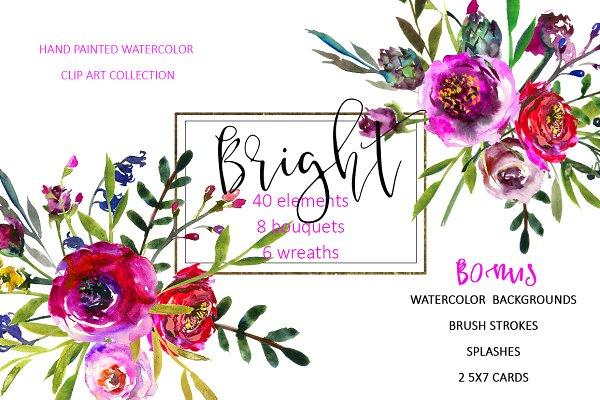 Bright Purple Watercolor Flowers