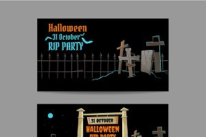 Horizontal cards for halloween party