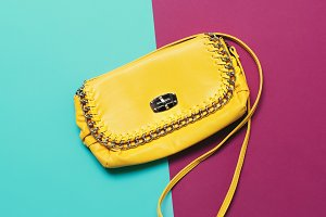 fashion accessories. Yellow Clutch.