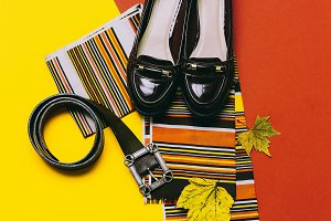shoes and striped scarf.
