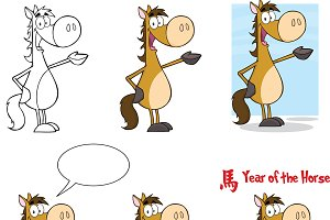 Horse Cartoon Character Collection