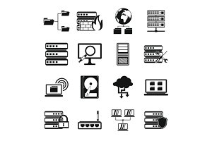 Big data icons set, simple style
