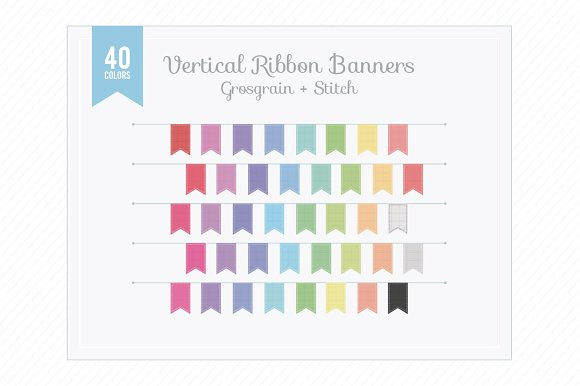 Ver. Ribbon Banners Grosgrain Stitch - Objects