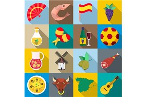 Spain icons set, flat style