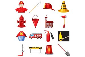 Fire Department icons set