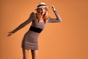 Fall Fashion. Woman Autumn Dress. Long Legs. Retro