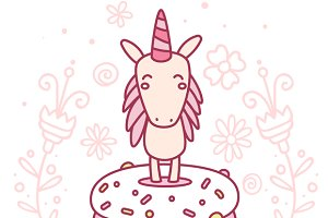 Cute magic unicorn with donut