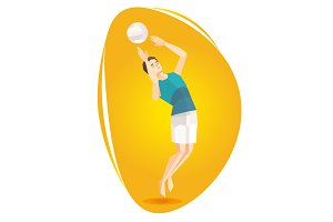Illustration of a volleyball athlete