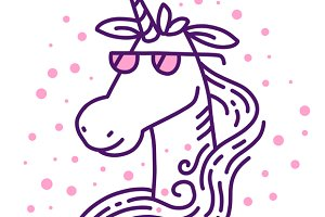 Head of magic unicorn in glasses