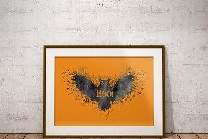 Wall art spooky owl, Halloween